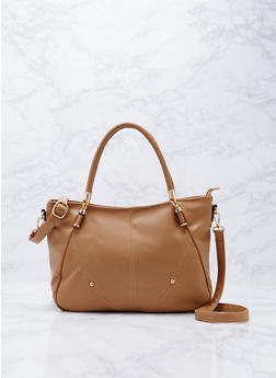 Soft Faux Textured Leather Satchel Bag - 9502073895033