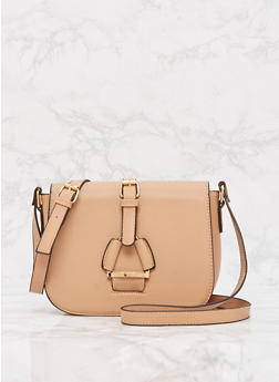 Faux Leather Crossbody Saddle Bag - 9502073895039