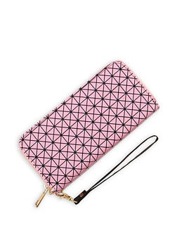 Faux Leather Double Zip Printed Wallet - 9509073891197