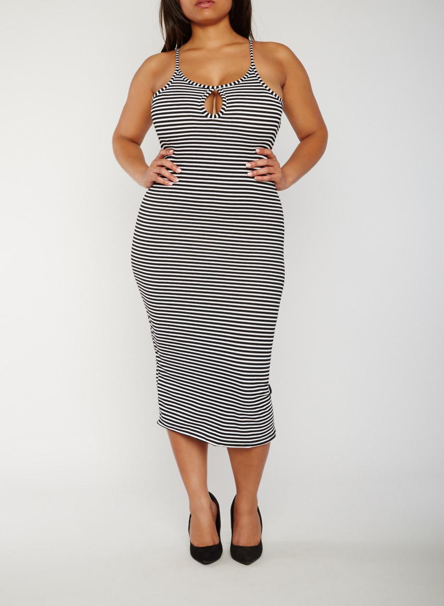 Plus Size Sleeveless Striped Rib Knit Bodycon Dress - Rainbow