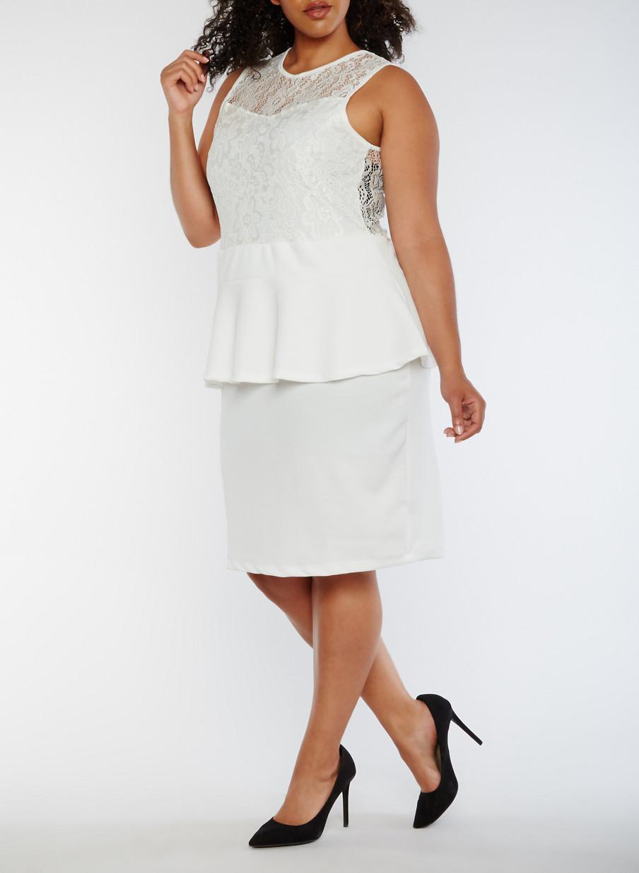 Plus Size Sleeveless Lace Peplum Dress - Rainbow