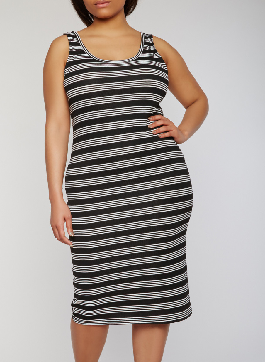 Plus Size Striped Mid Length Tank Dress - Rainbow