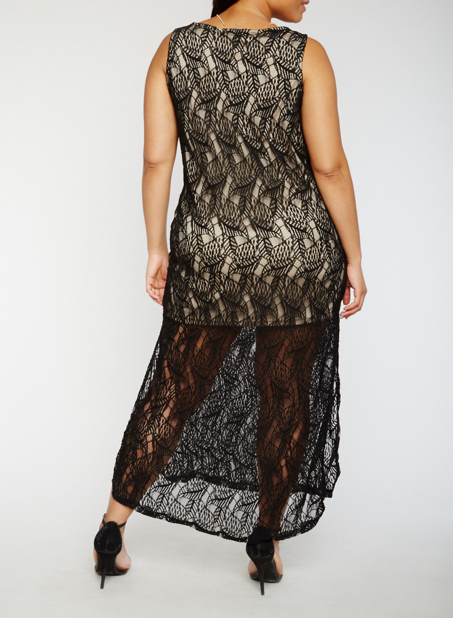 Plus Size Lace Maxi Tank Dress with Necklace - Rainbow