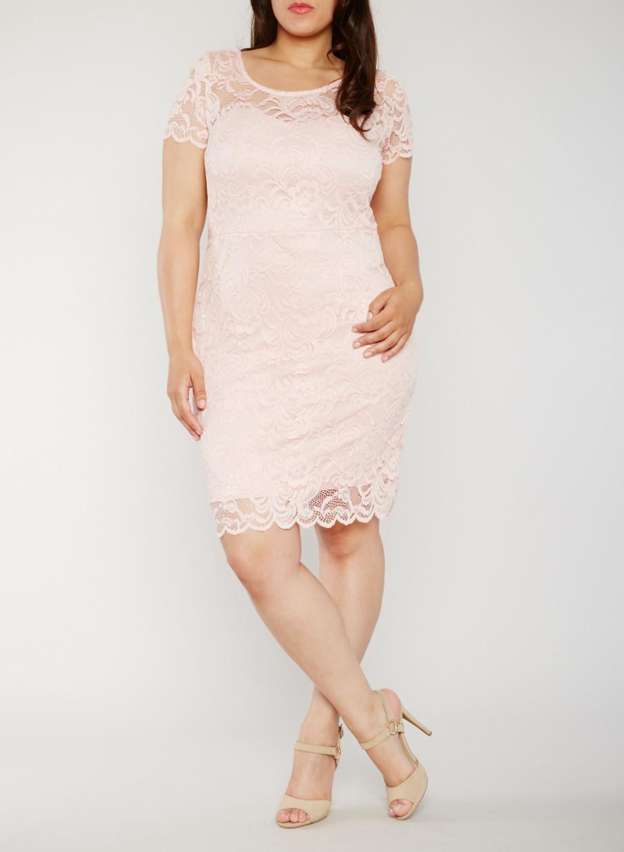 Plus Size Short Sleeve Lace Dress - Rainbow