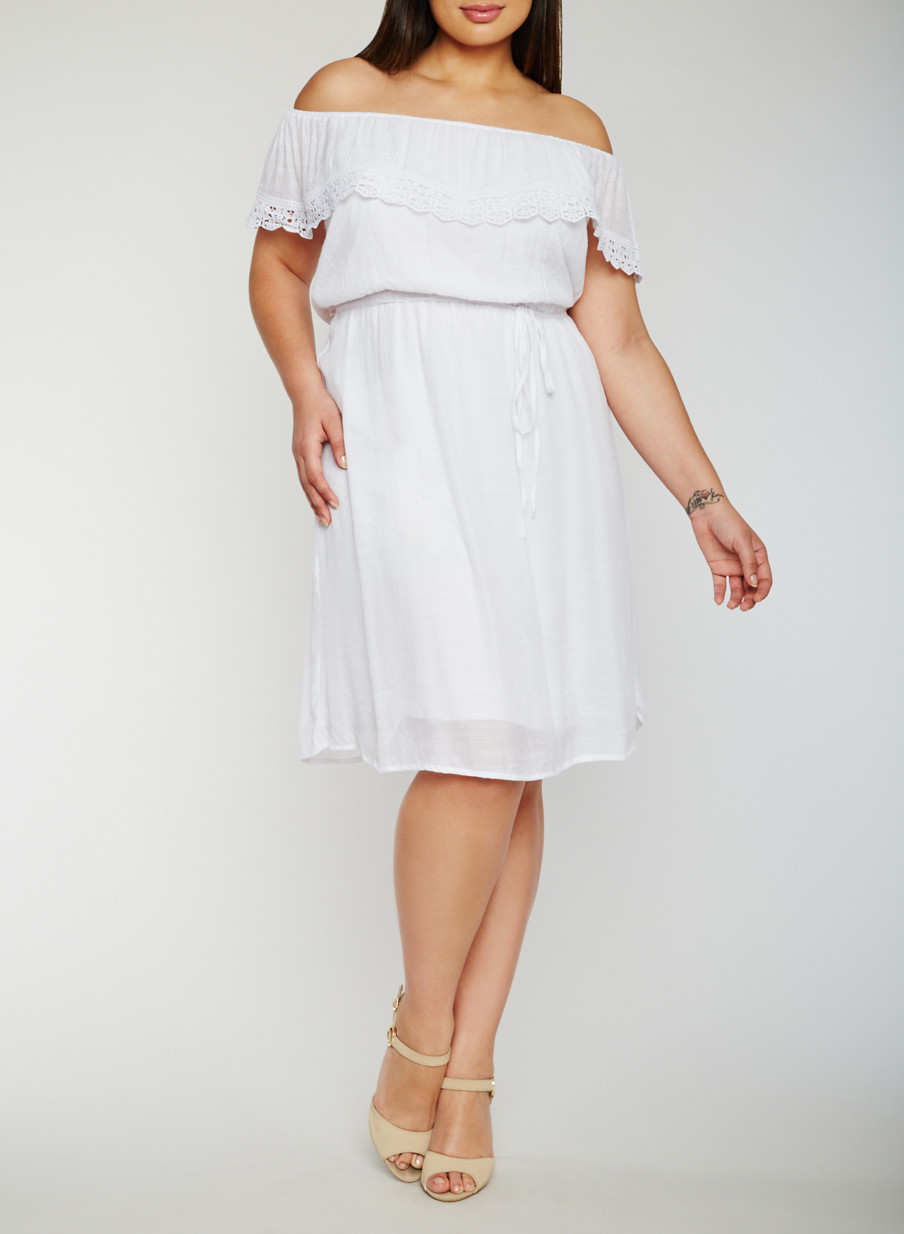 Plus Size Off the Shoulder Belted Peasant Dress - Rainbow