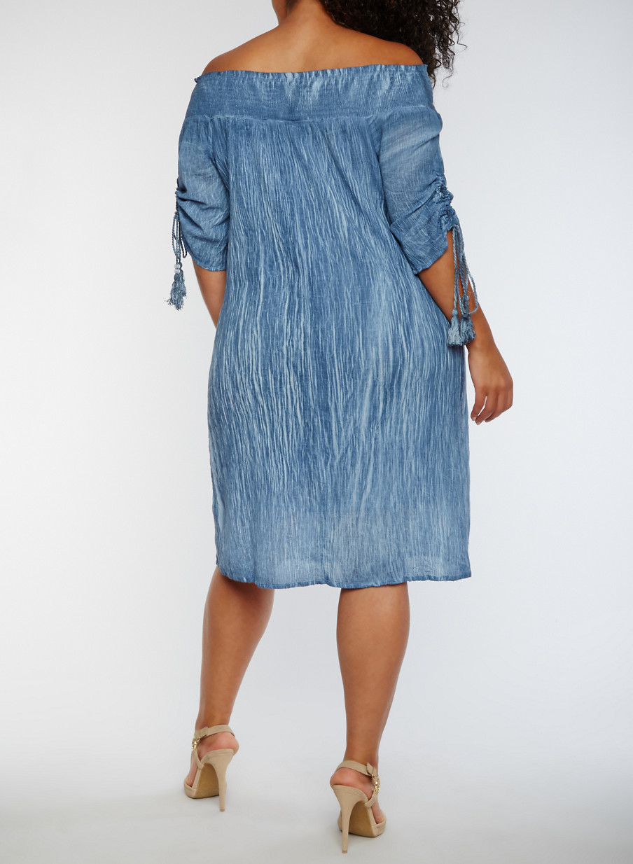 Plus Size Off the Shoulder Smocked Peasant Dress - Rainbow