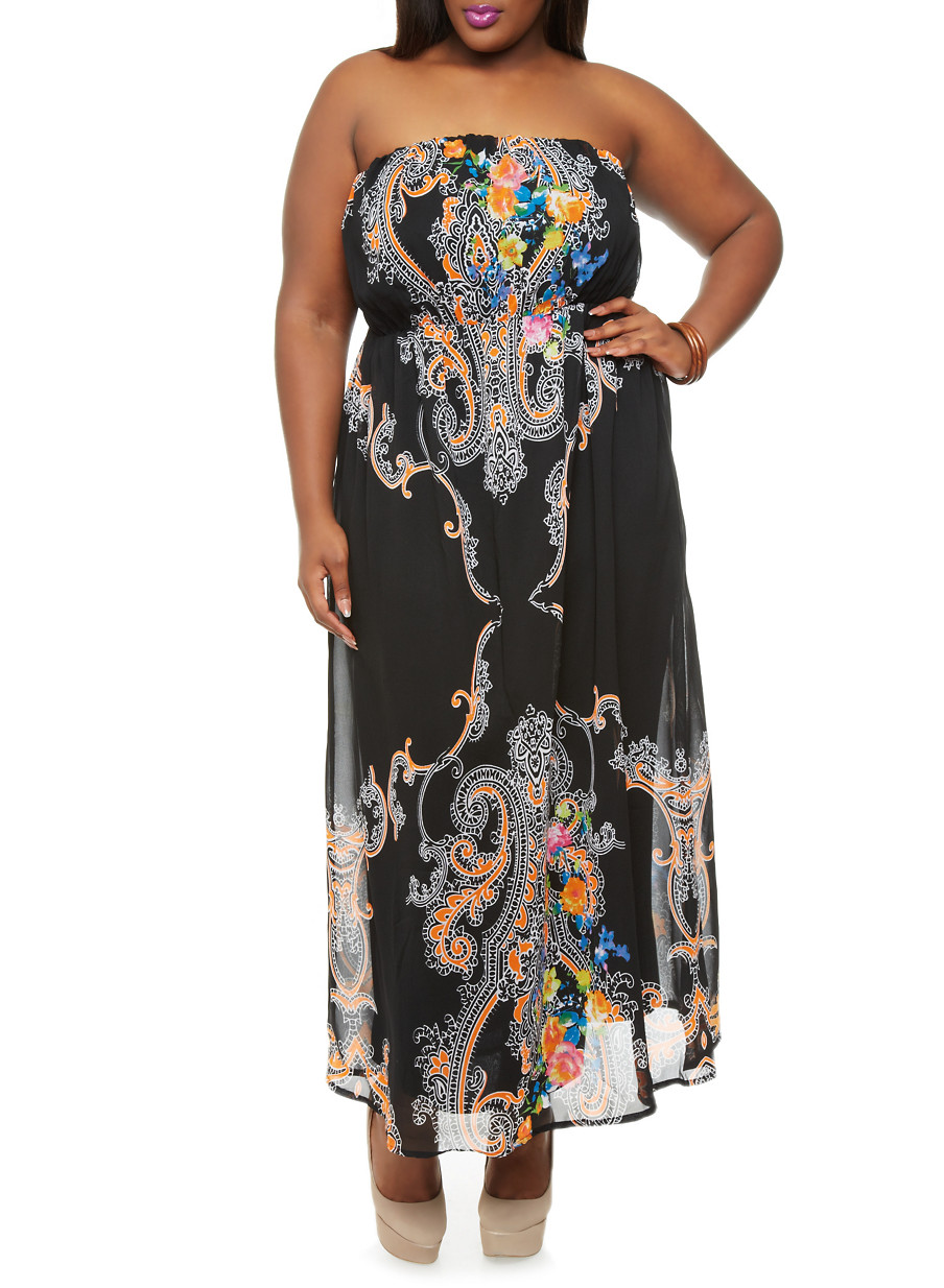 Boho Maxi Dresses Plus Size Plus Size Strapless Maxi Dress