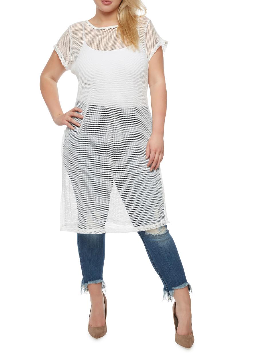 Plus Size Mesh T Shirt Dress with Side Slits - Rainbow
