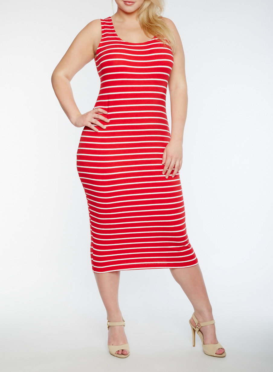 Plus Size Striped Tank Dress - Rainbow