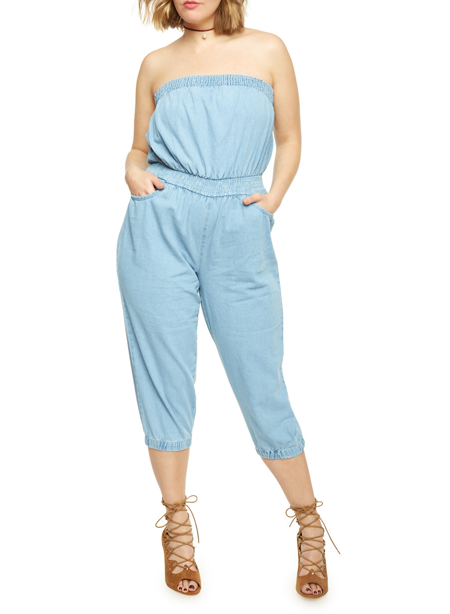Denim Capri Jumpsuit Breeze Clothing