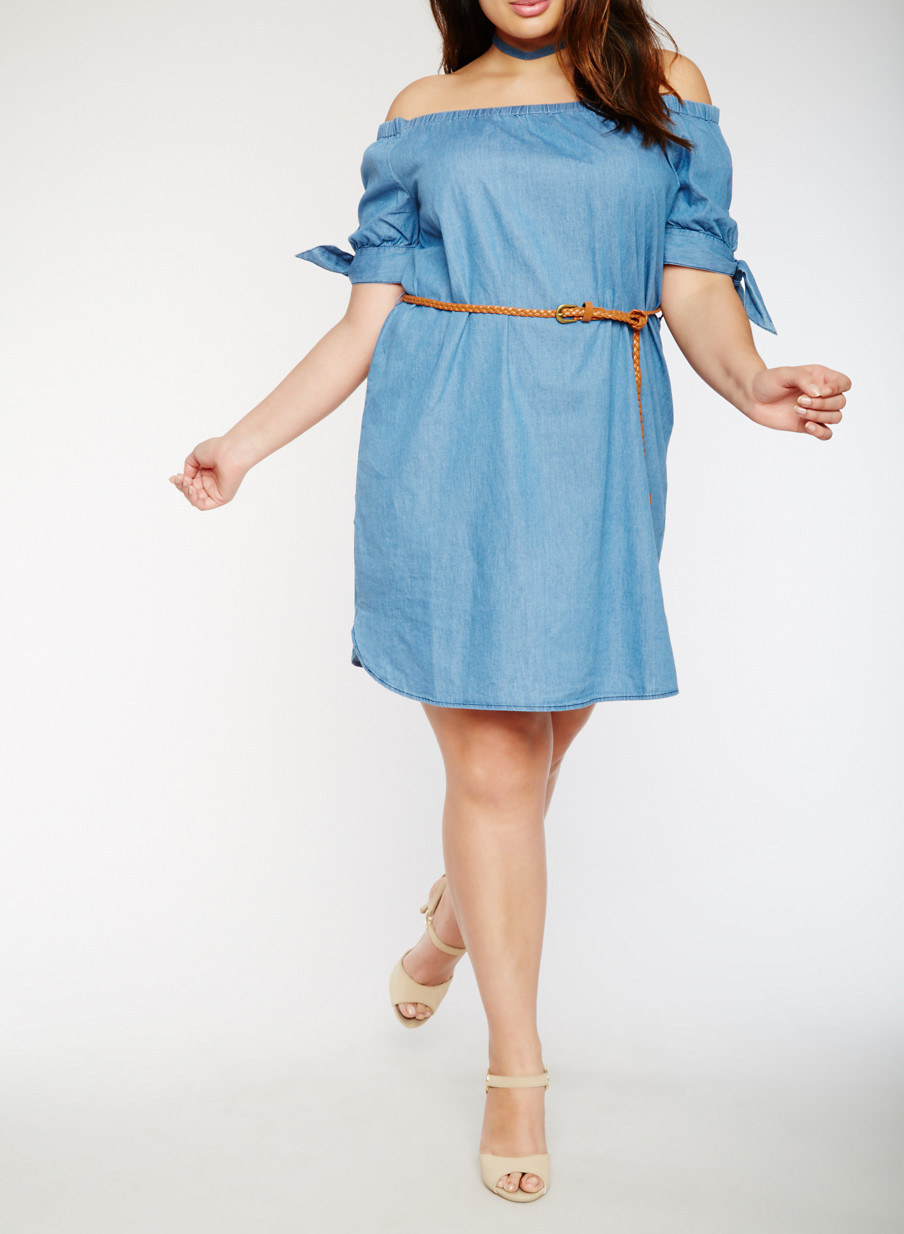 Plus Size Belted Off the Shoulder Denim Dress - Rainbow