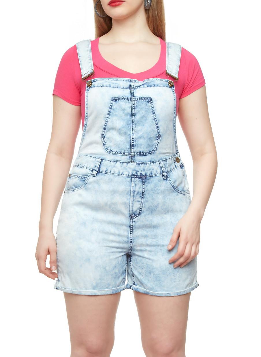 Plus Size Chambray Denim Overall Shorts - Rainbow
