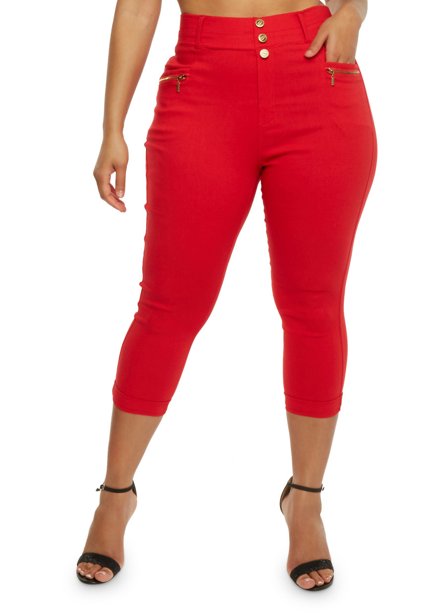 Plus Size High Waisted Stretch Knit Capri Pants - Rainbow
