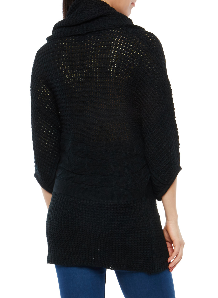 Dolman Sleeve Cowl Neck Tunic Sweater - Rainbow