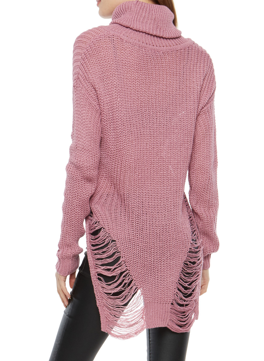 Cropped High Low Distressed Turtleneck Sweater - Rainbow