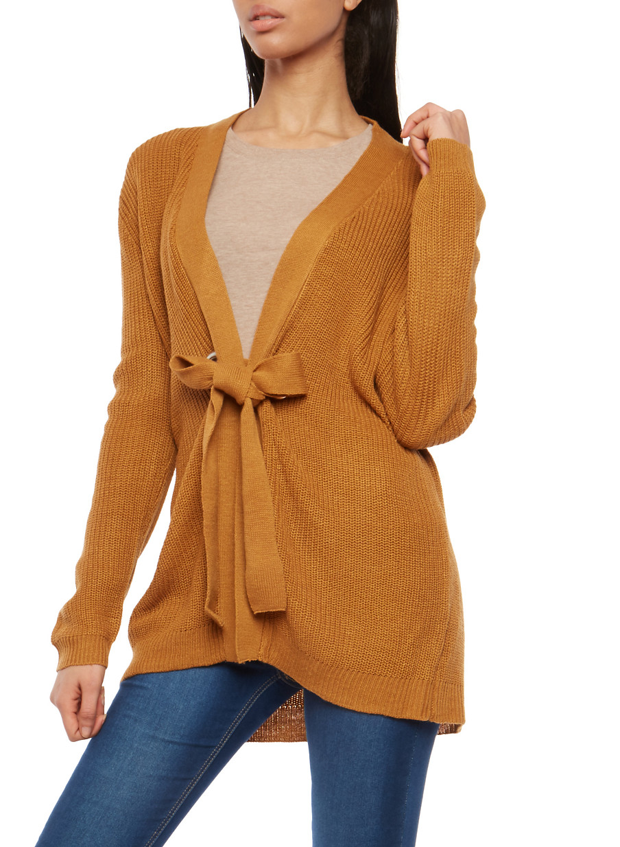 Long Sleeve Grommet Closure Cardigan - Rainbow