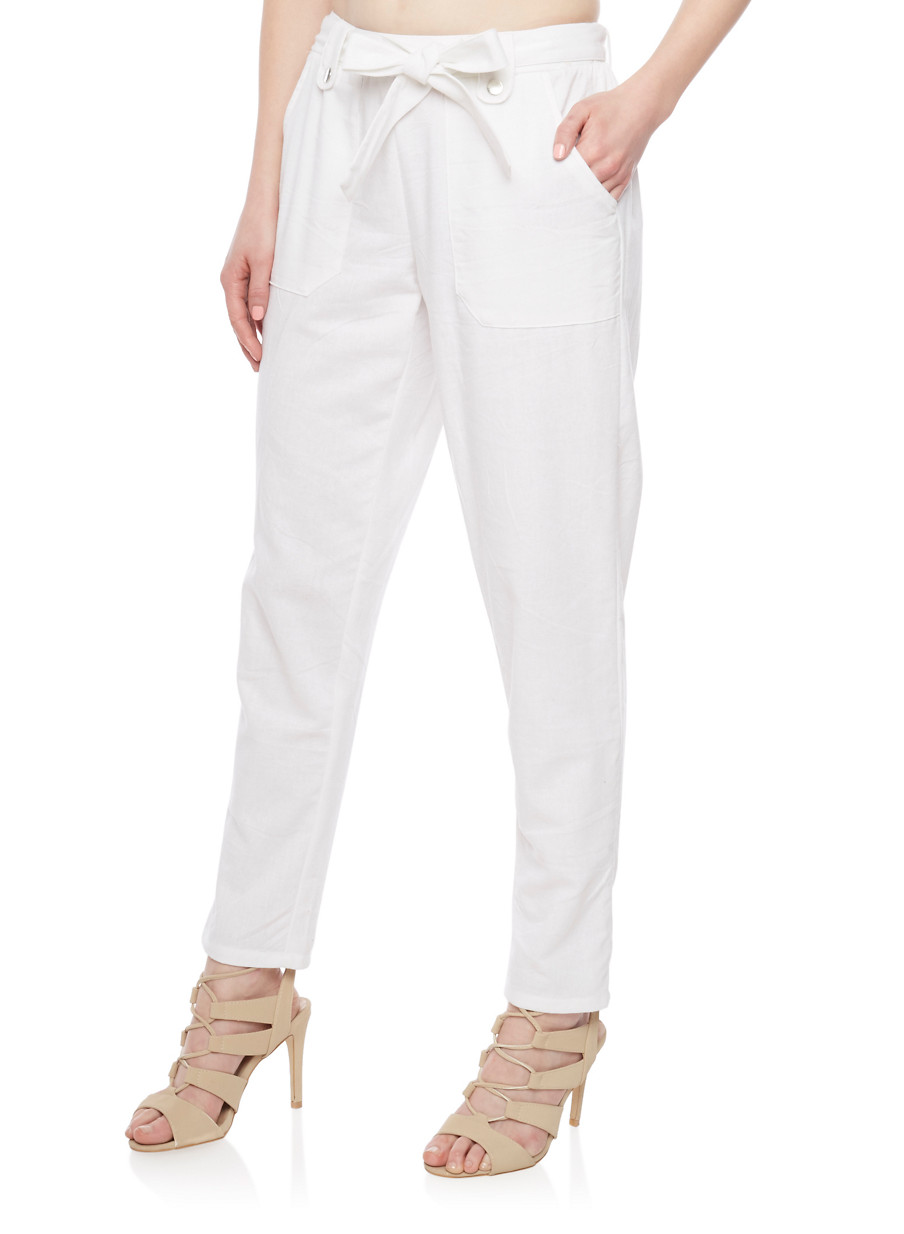 Casual Linen Pants with Pork Chop Pockets - Rainbow