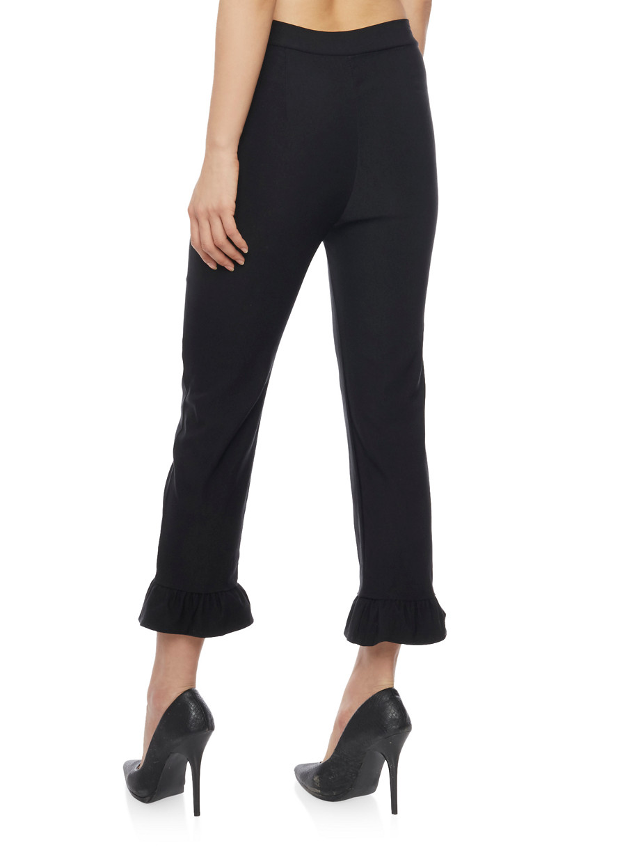 Stretch Knit Dress Pants with Ruffle Leg Detail - Rainbow