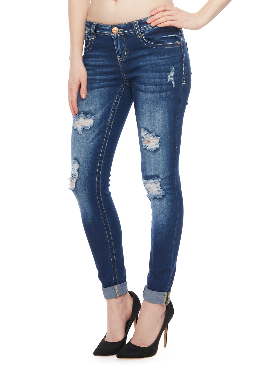 Almost Famous Low Rise Destroyed Skinny Jeans with Rolled Cuff ...