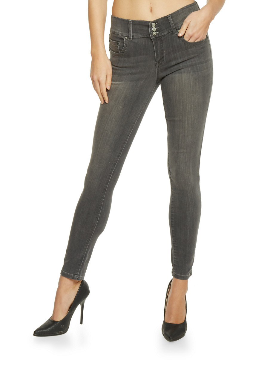 Highway 3 Button High Waisted Skinny Jeans - Rainbow