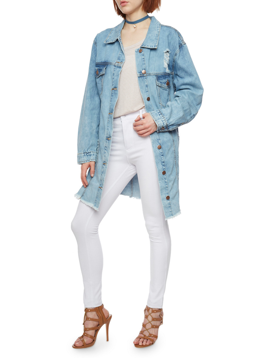 Long Distressed Denim Jacket - Rainbow