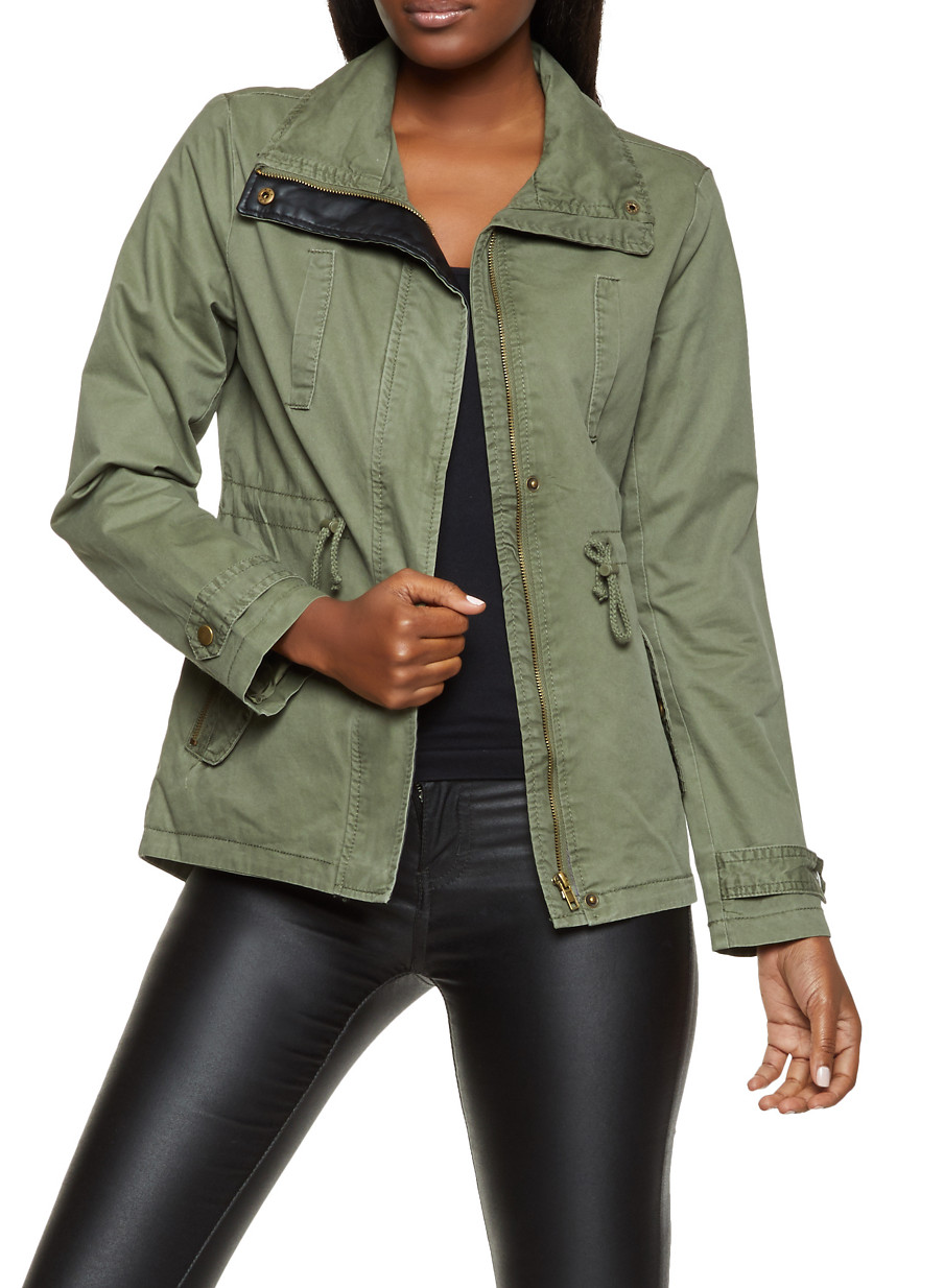 Collared Anorak Jacket - Green - Size L