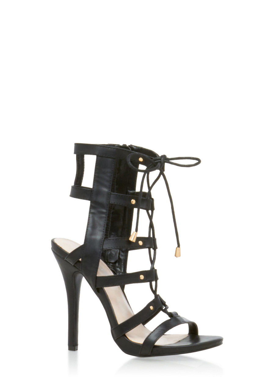 Lace Up Caged High Heels
