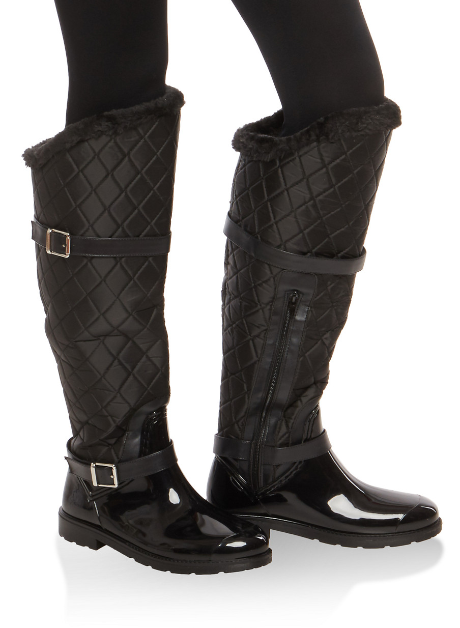 Faux Fur Lined Quilted Rain Boots - Rainbow : quilted rainboots - Adamdwight.com