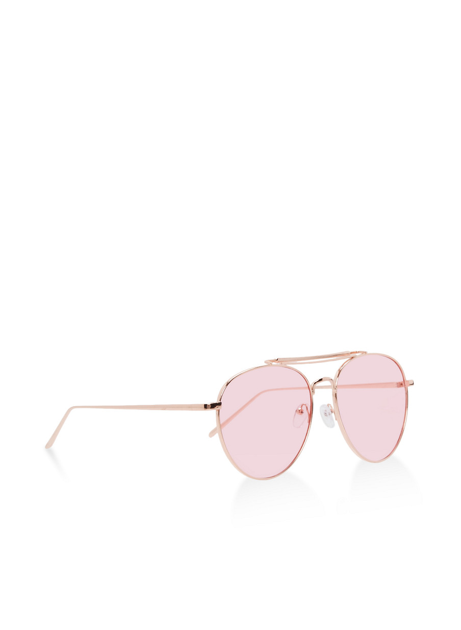 ... Double Top Bar Aviator Sunglasses,ROSE,large