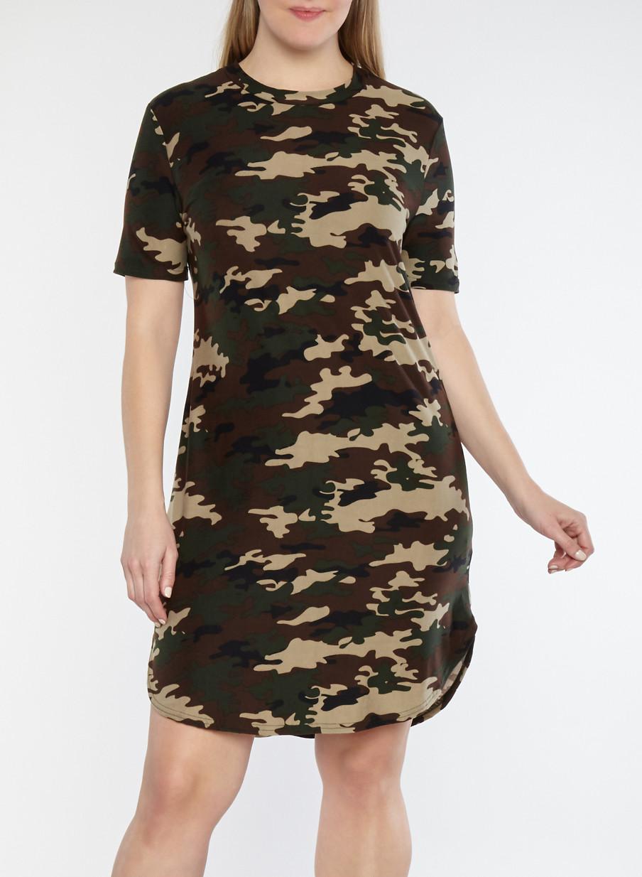 Plus Size Camouflage Print T Shirt Dress - Rainbow