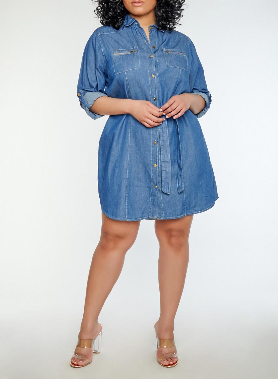 Plus Size Button Front Denim Dress - Rainbow