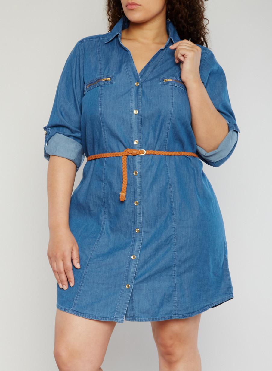 Plus Size Denim Button Front Shirt Dress - Rainbow