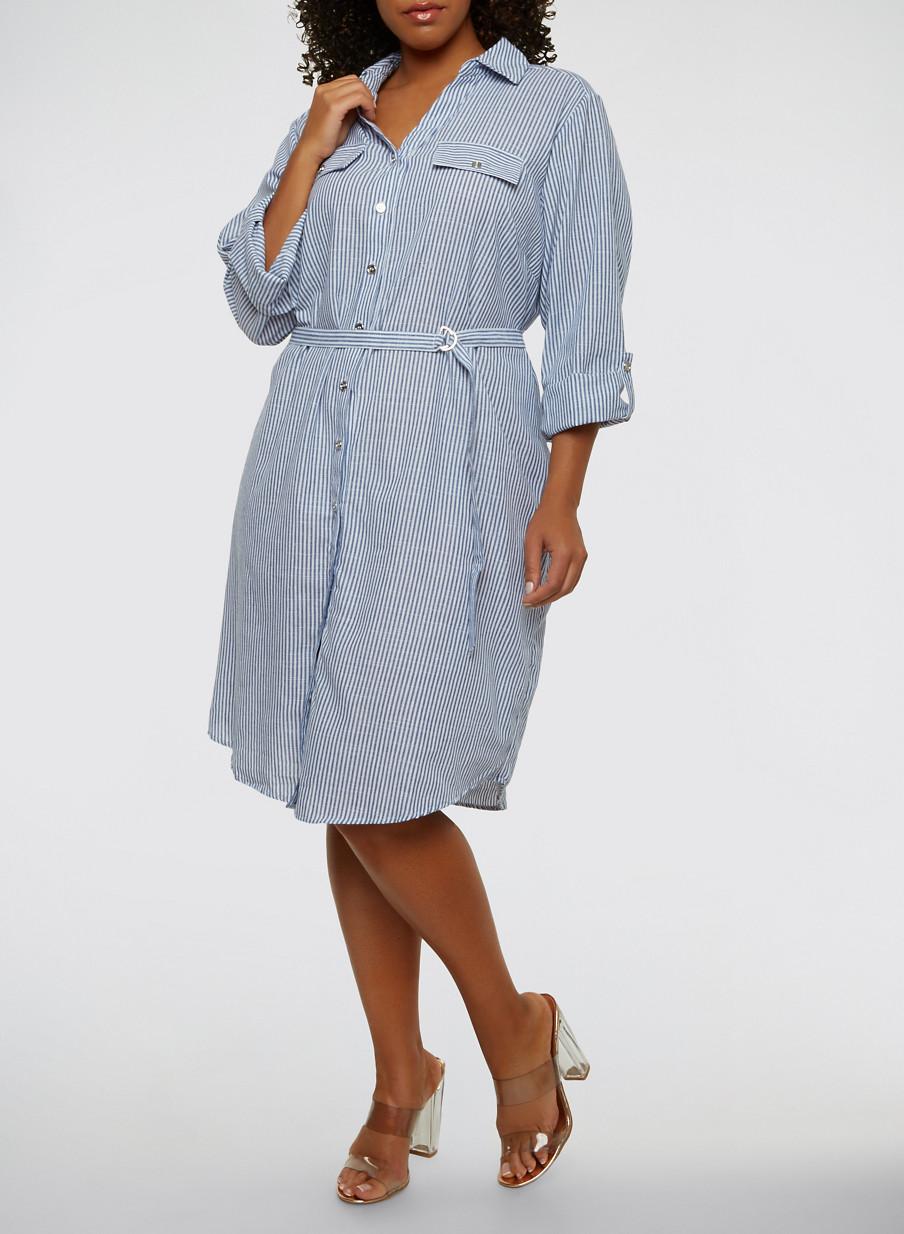 Plus Size Striped Button Front Shirt Dress - Rainbow