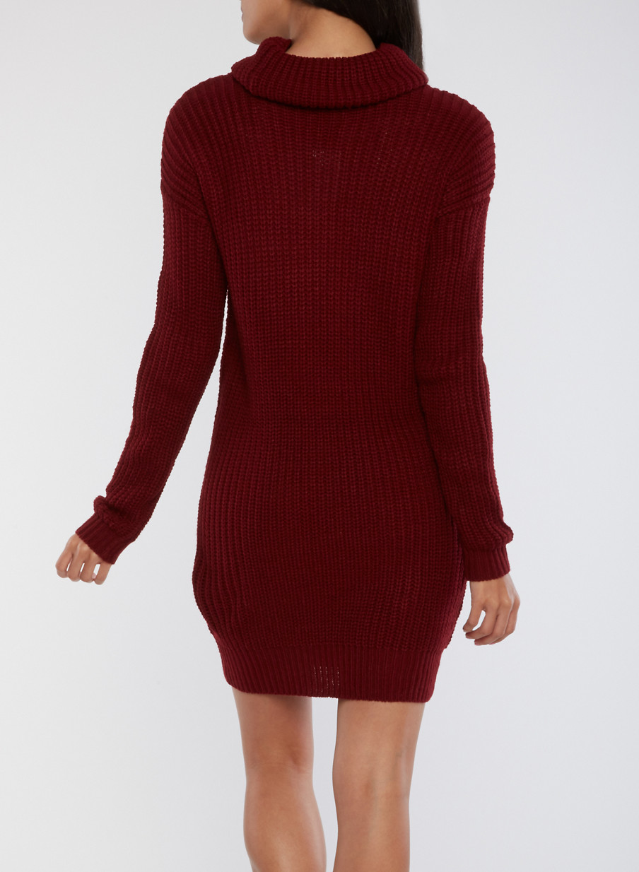 Cowl Neck Knitted Sweater Dress - Rainbow