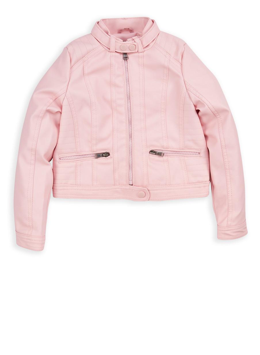Girls 4-6x Pink Faux Leather Moto Jacket - Rainbow