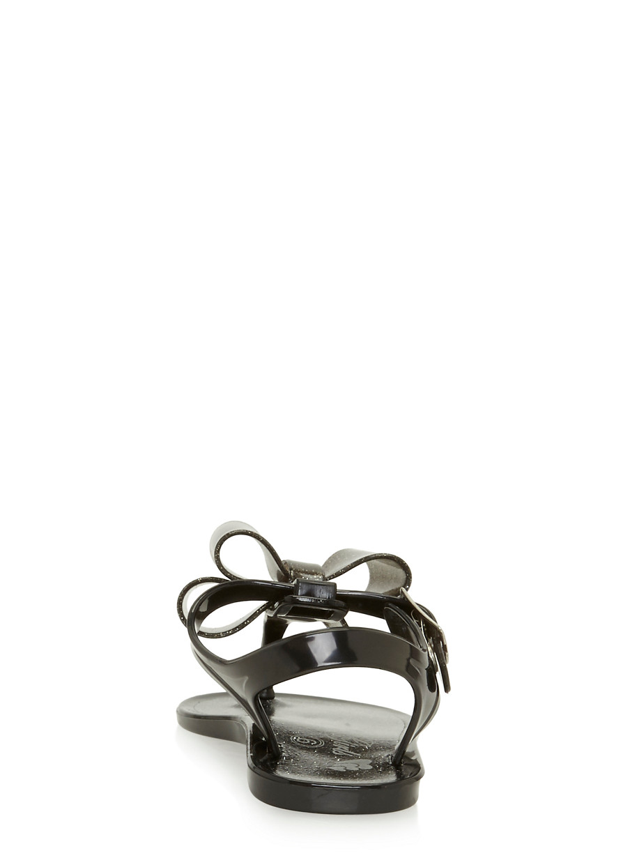 Black jelly sandals with bow -  Girls 6 10 Glitter Black Thong Jelly Sandals With Bow Black Large