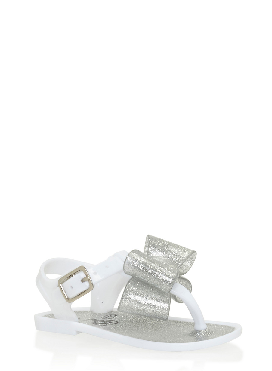 Black jelly sandals with bow -  Girls 6 10 Glitter White Thong Jelly Sandals With Bow White Large