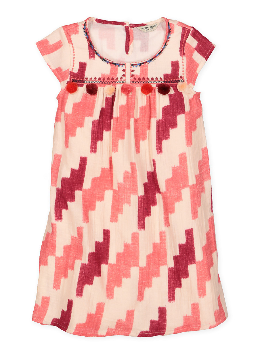 Girls 7-16 Lucky Brand Printed Shift Dress - Pink - Size L