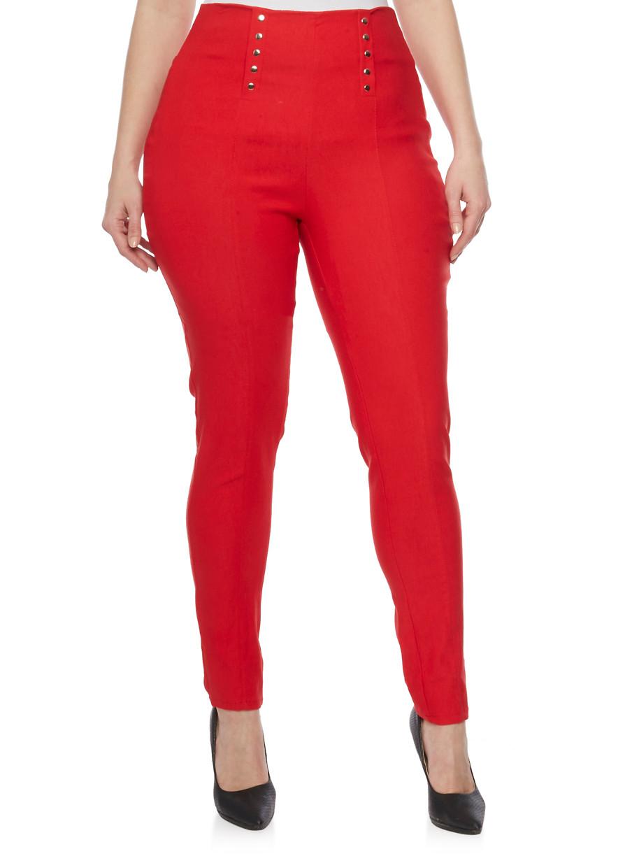 Plus Size Sailor Pants with Elasticized Waist - Rainbow