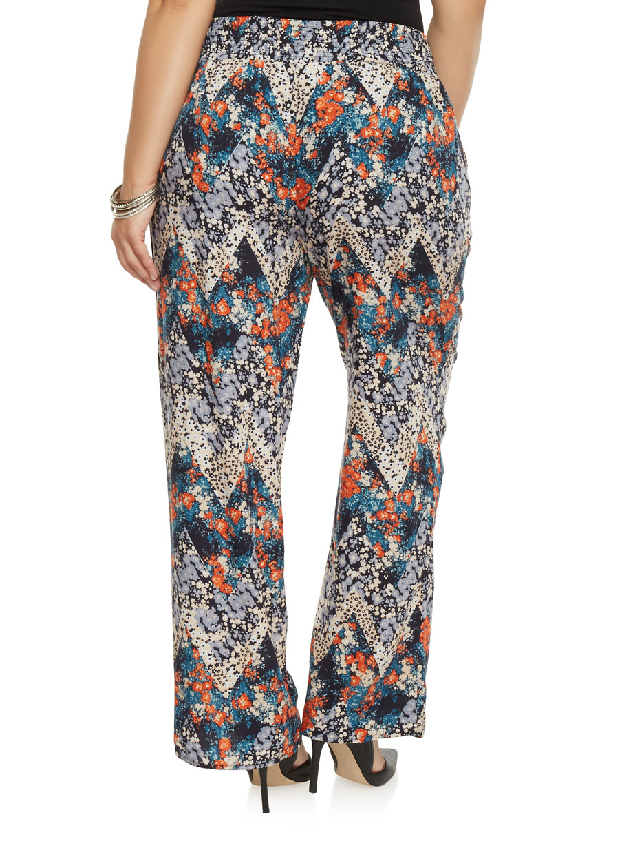 Plus Size Printed Palazzo Pants with Smocked Waist - Rainbow