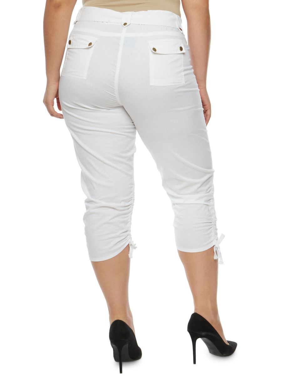 Plus Size Belted Cargo Capri Pants - Rainbow