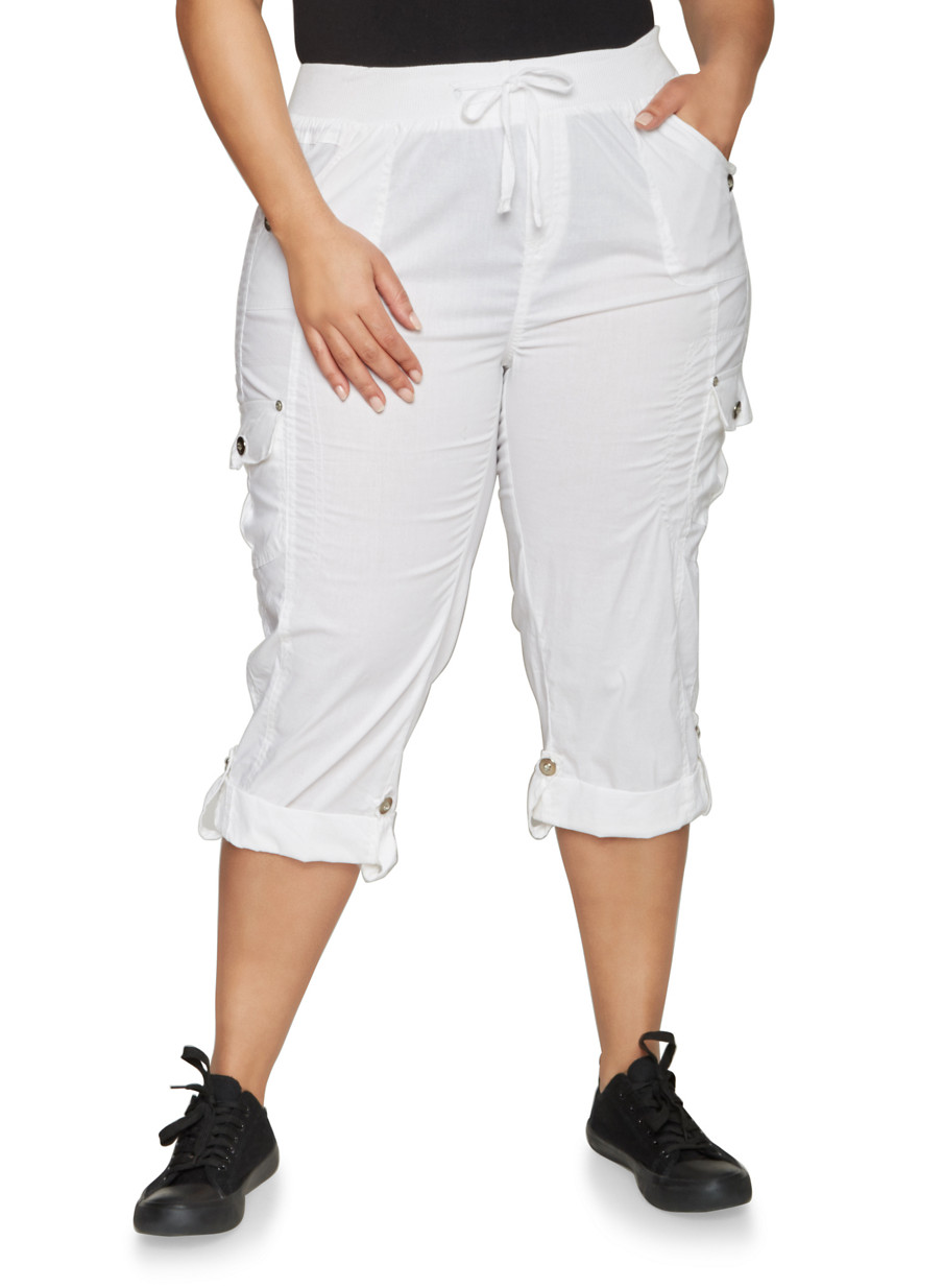 Plus Size Cuffed Cargo Capri Pants - Rainbow