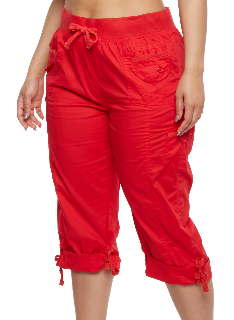 Plus Size Cargo Capri Pants - Rainbow
