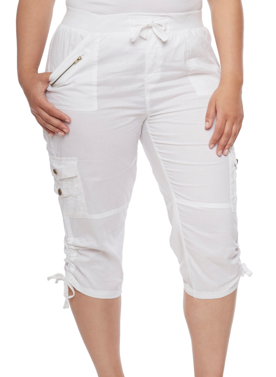 Plus Size Cargo Capri Pants with Zip Trim - Rainbow