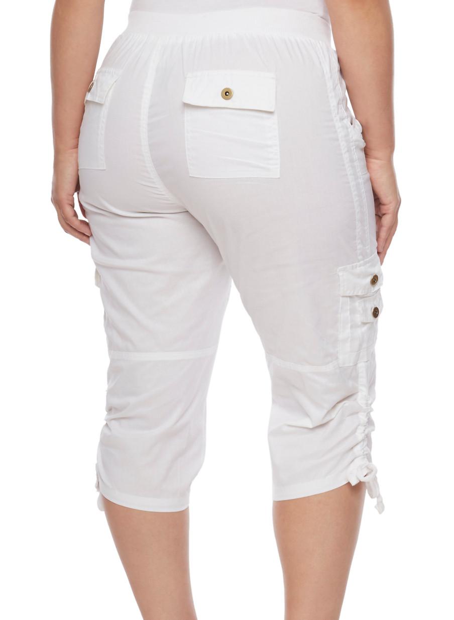 Plus Size Cargo Capri Pants with Zip Trim - Rainbow
