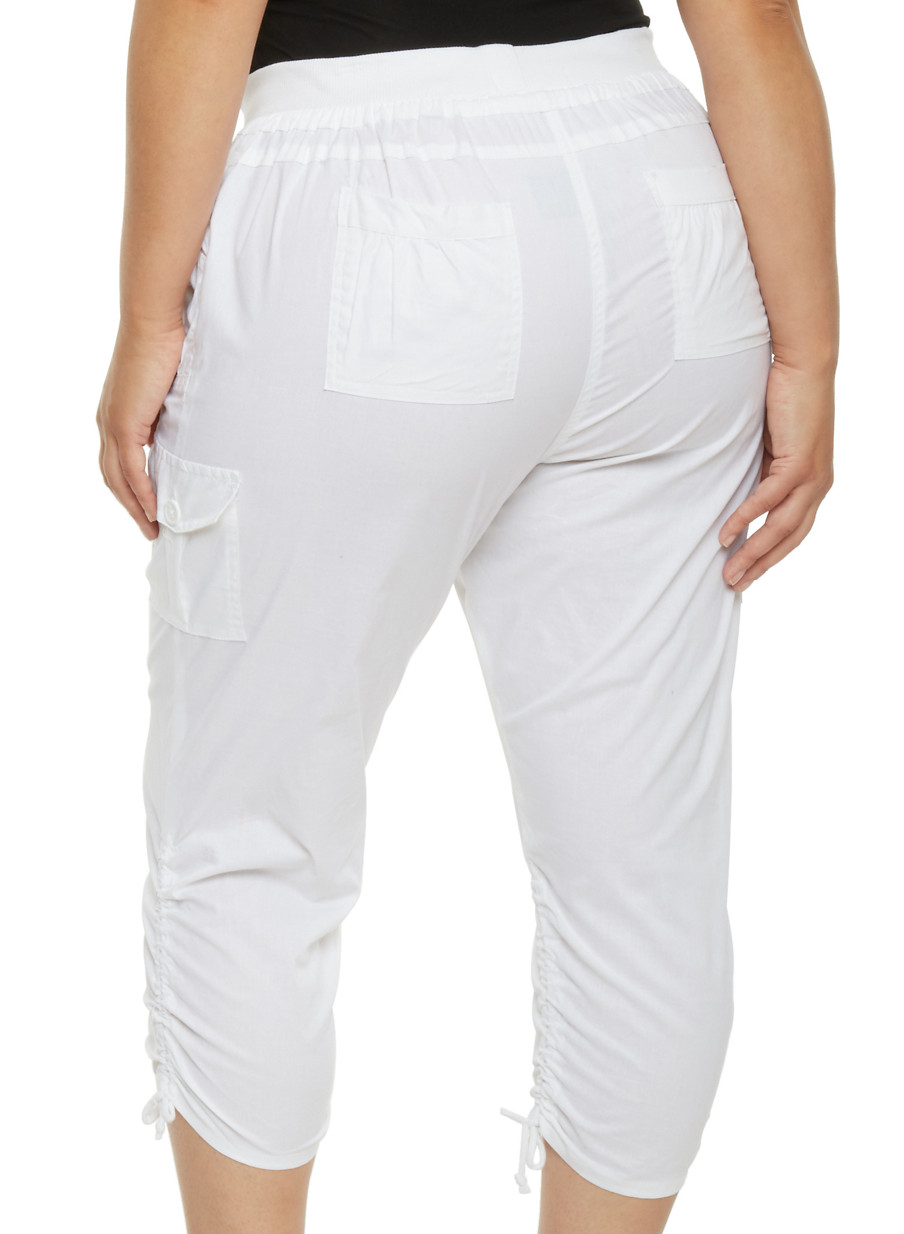 Plus Size Ruched Cargo Capri Pants - Rainbow