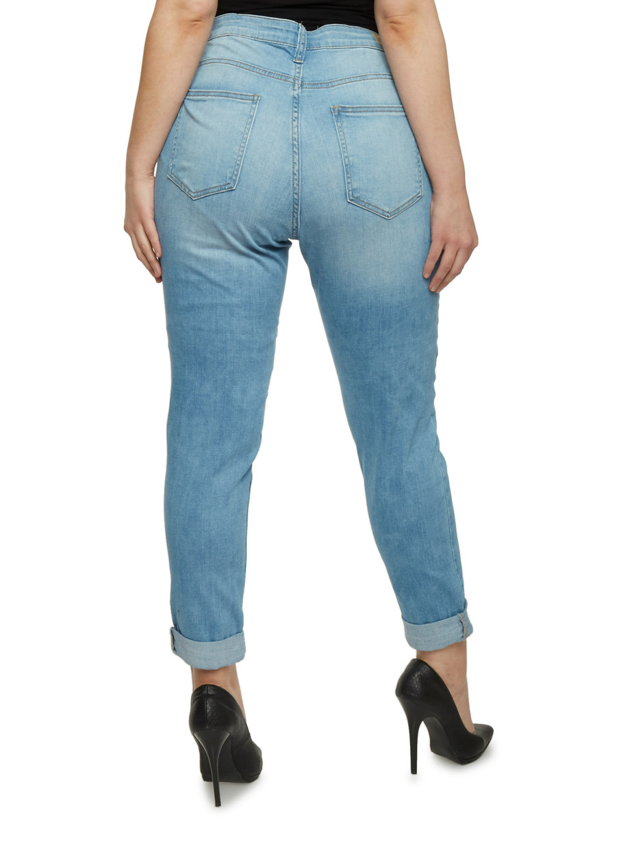 Plus Size Cello Light Wash High Waisted Skinny Jeans - Rainbow