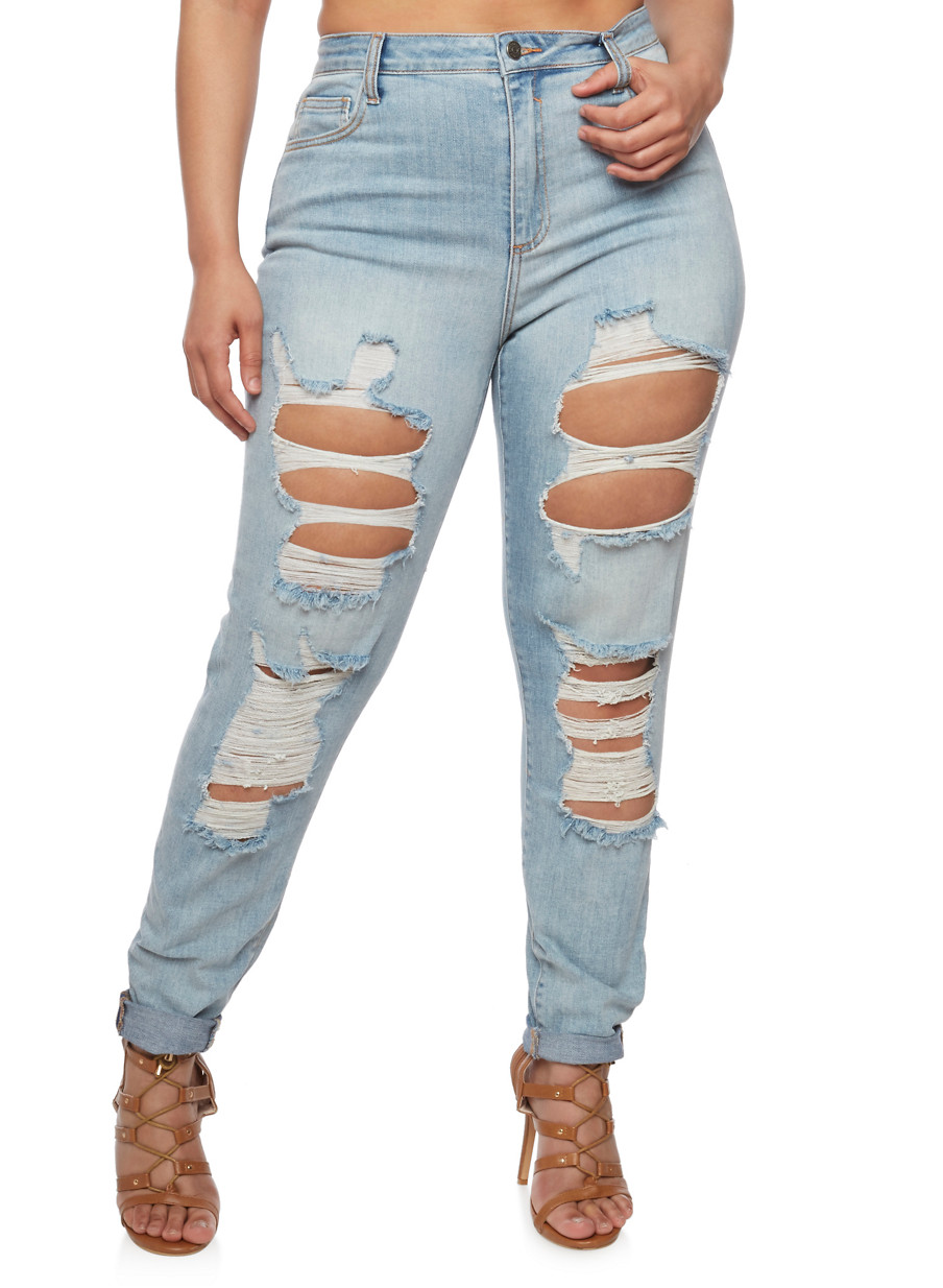 Plus Size Cello Ripped Jeans with Rolled Cuffs - Rainbow
