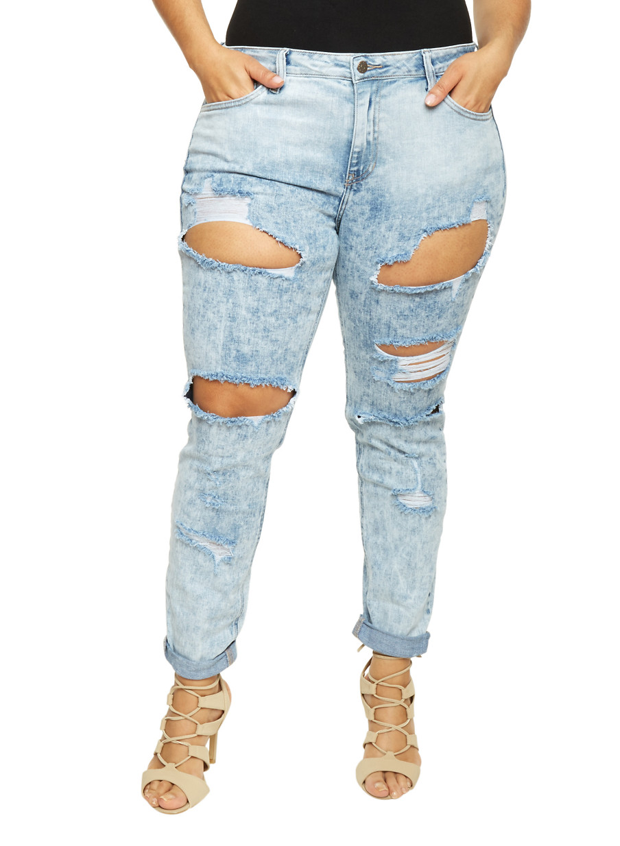 Plus Size Cello Cutout Light Wash Jeans with Rolled Cuffs - Rainbow