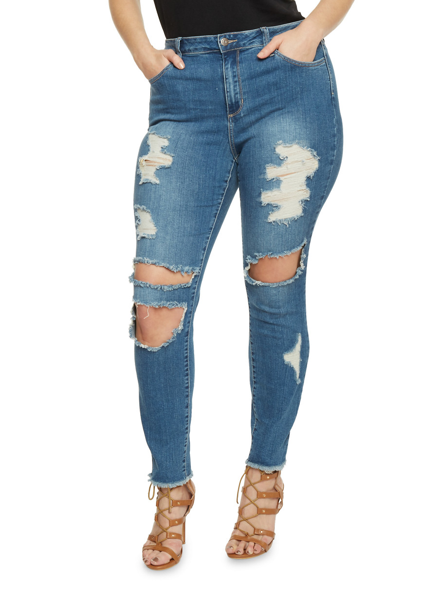 Ripped Jeans Plus Size Ye Jean